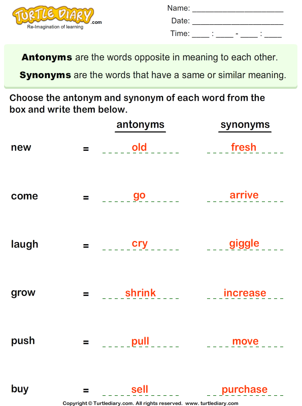 Choose the Antonym and Synonym of Words Answer