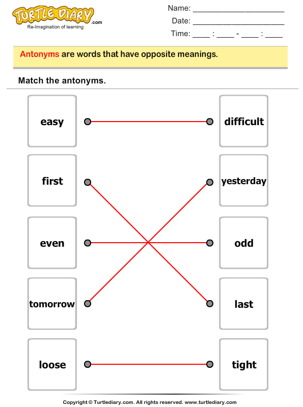 Match the Antonyms Answer