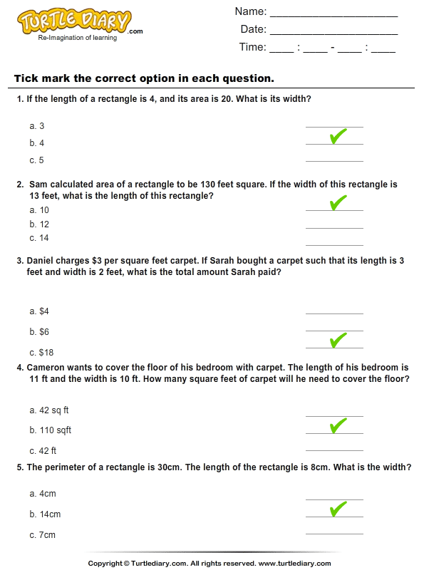 Area : Multiple Choice Questions Answer