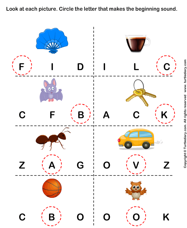 beginning sounds f c b k a v and o worksheet turtle diary. Black Bedroom Furniture Sets. Home Design Ideas