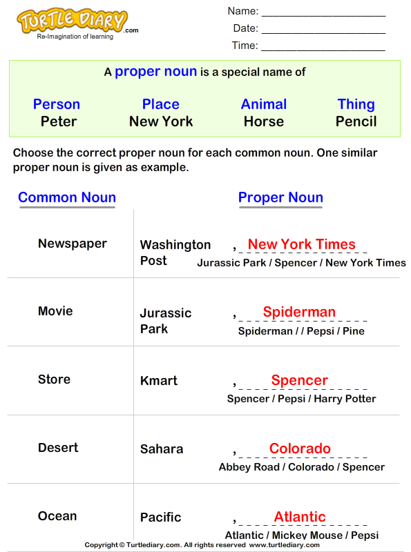 Write a Proper Noun for Common Nouns Answer