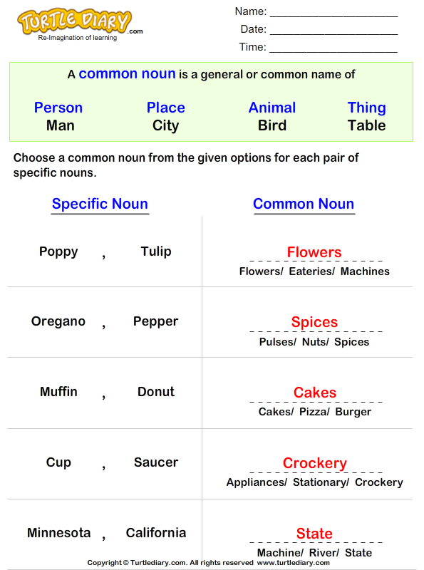 Write a Common Noun for Proper Nouns Answer