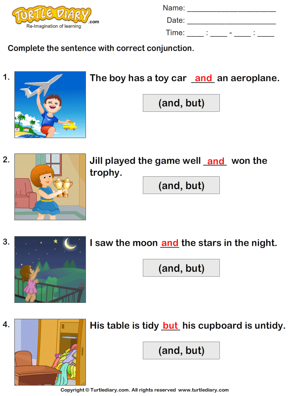 Choose the Correct Conjunction Worksheet - Turtle Diary