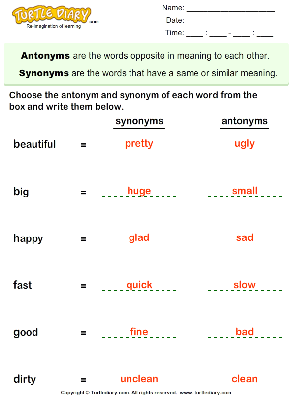 Worksheets Words With Synonyms And Antonyms choose the synonym and antonym of words worksheet turtle diary answer