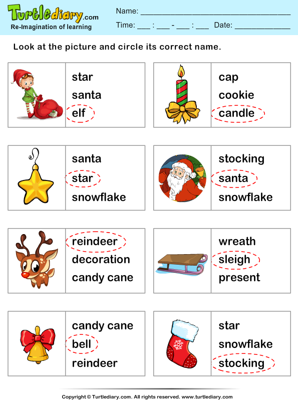 Christmas Vocabulary Words Worksheet Turtle Diary