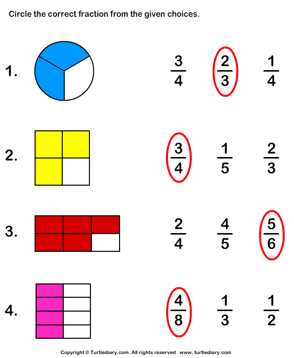 circle fraction representing shaded portion worksheet turtle diary. Black Bedroom Furniture Sets. Home Design Ideas