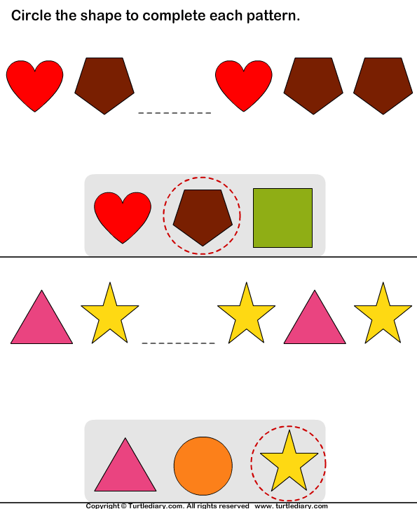 Complete the Missing Pattern Answer