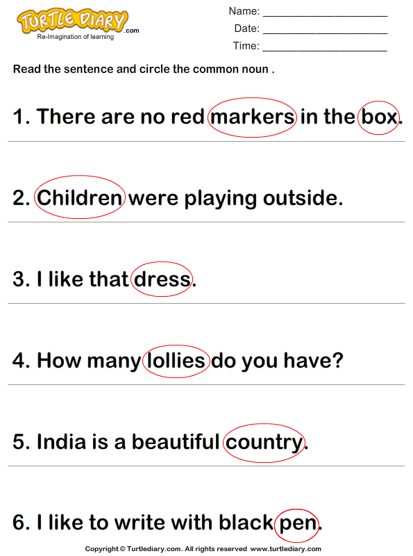 Identify the Common Nouns in a Sentence Answer