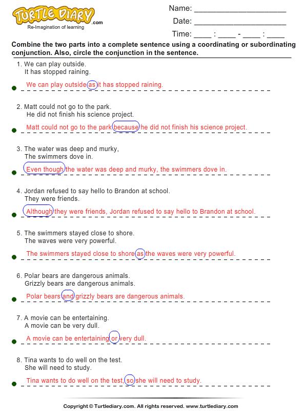 Conjunctions worksheets for grade 1