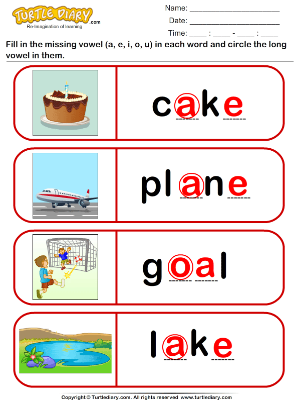 Circle the Long Vowel Answer
