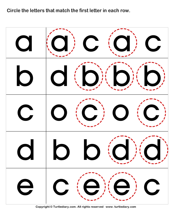 Circle the Matching Letter A B C D E Worksheet Turtle Diary
