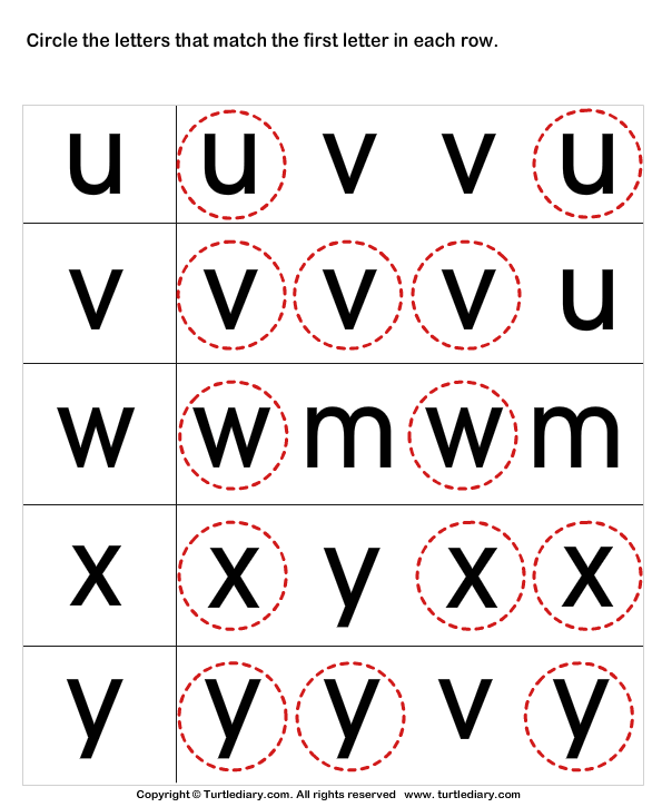 Recognize Letters in Lower Case Worksheet - Turtle Diary