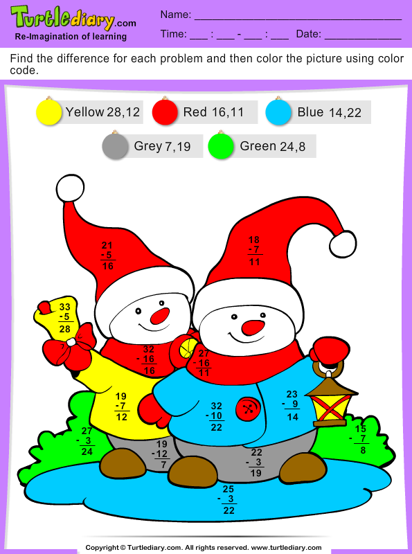 Christmas Color by Difference Answer
