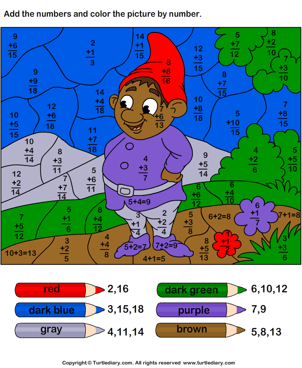 Color by numbers worksheets addition