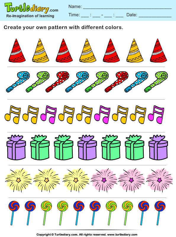 Answer Color The Objects Create Your Own New Year Pattern on missing number worksheets