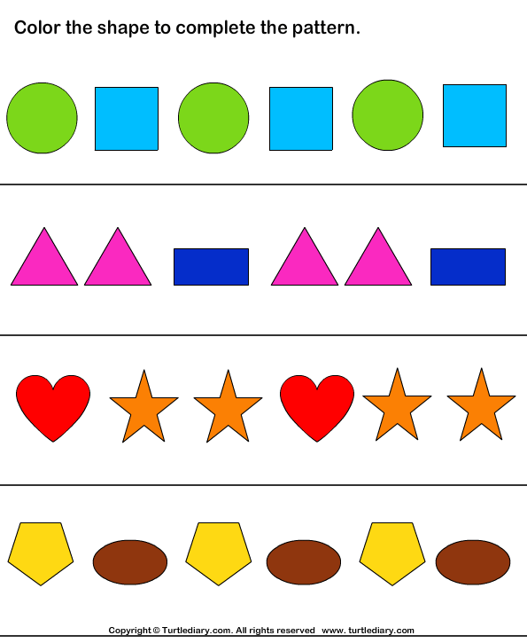 Color the Shapes to Continue Patterns Worksheet - Turtle Diary