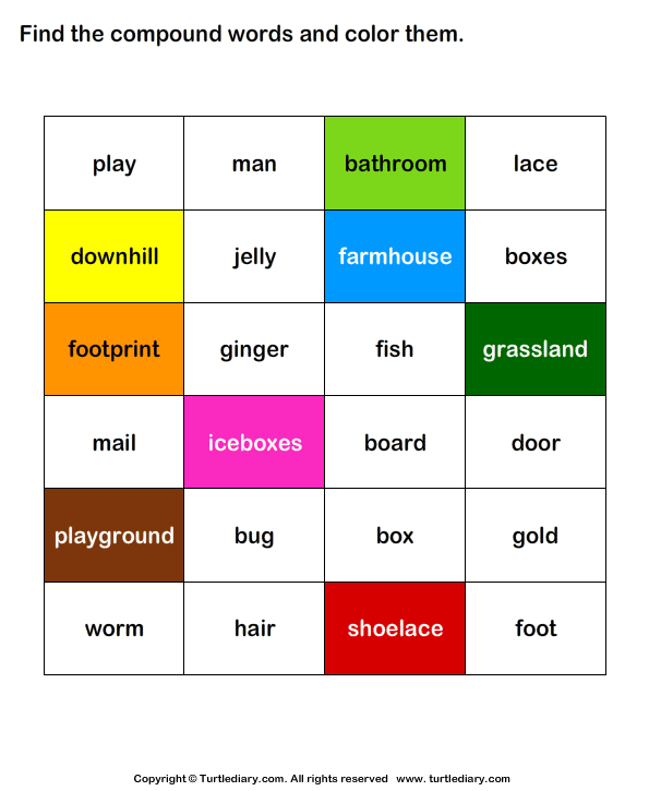 Identify and Color the Compound Words Answer