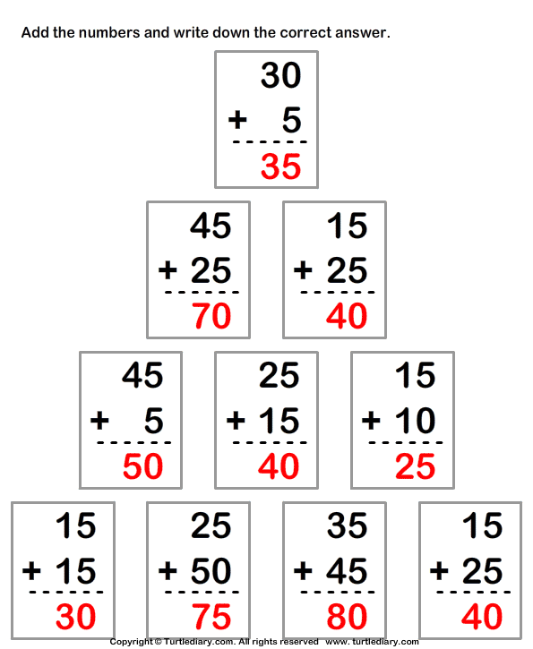 Column Addition of Two Two Digit Numbers with Regrouping Worksheet ...