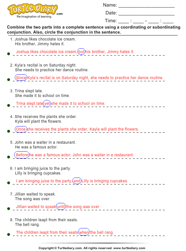 Combine the Clauses using Coordinating and Subordinating – Conjunctions Worksheet 5th Grade