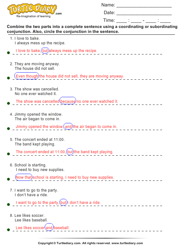Correlative conjunctions worksheets for grade 7