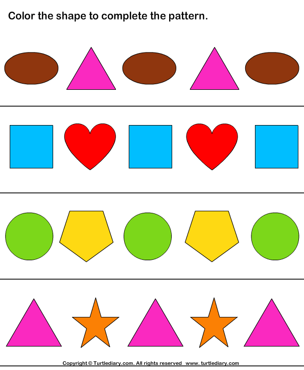 complete patterns by coloring the missing shapes worksheet turtle diary. Black Bedroom Furniture Sets. Home Design Ideas