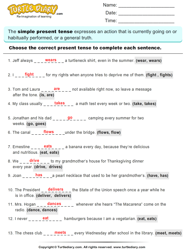 Worksheets Present Tense Verbs Worksheets complete sentences by choosing correct present tense of verb write the answer