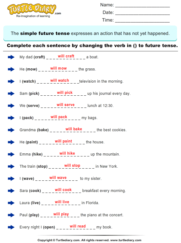 {Complete the Sentence by Changing the Verbs to Future Tense Form – Future Tense Worksheets