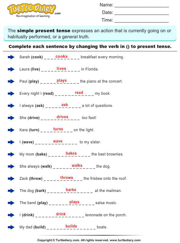 Complete the Sentence by Changing the Verbs to Present Tense Form – Verb Tenses Worksheet