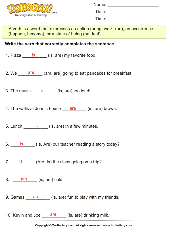 Choose the Correct Verb - Is, Am, Are Worksheet - Turtle Diary
