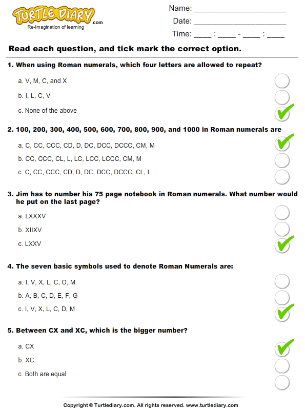 Roman Numerals (Xx Above) : Multiple Choice Questions Answer