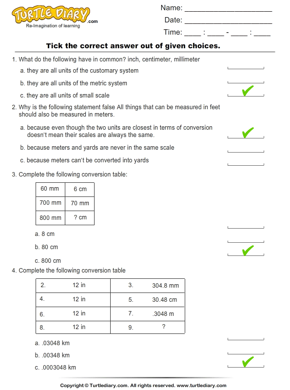 Unit Conversion: Customary to Metric and Metric to Customary Answer