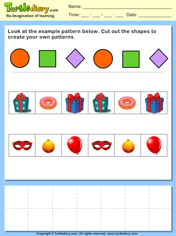 Cut and Paste Objects to Create Your Own Pattern Worksheet – Create Worksheet