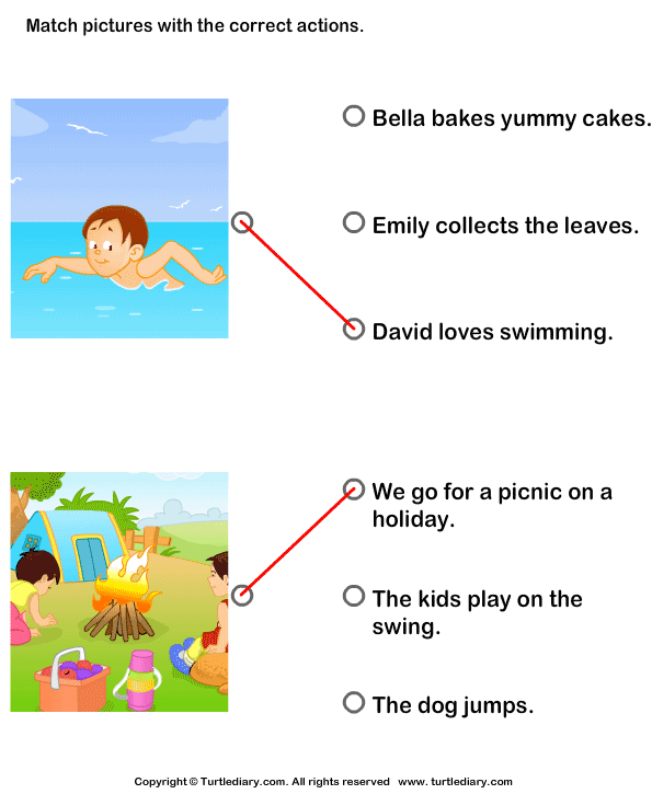 Action Verbs: Choose the Right Sentence Answer