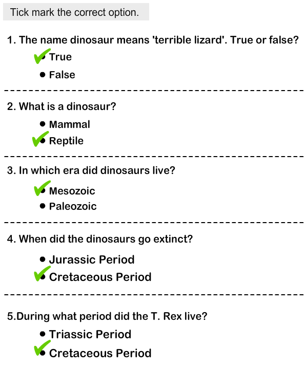 Dinosaurs - Identify the Physical Features Answer