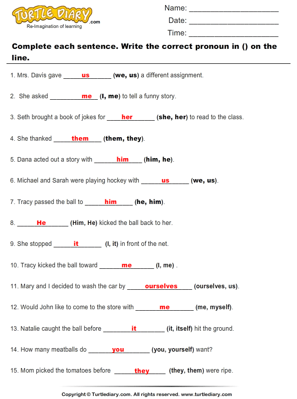 Pronouns Worksheet Fill in the blank with the correct \x3cb\x3epronoun ...