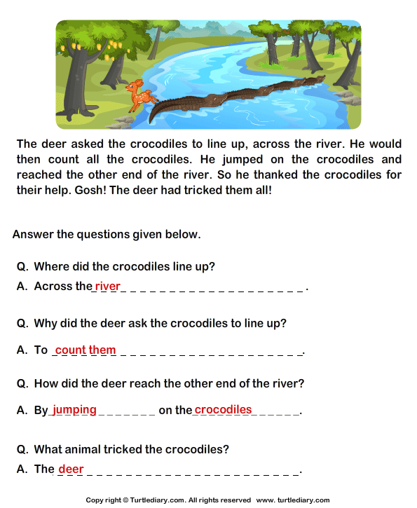 Fill in the Blanks from Comprehension Deer and Crocodiles ...
