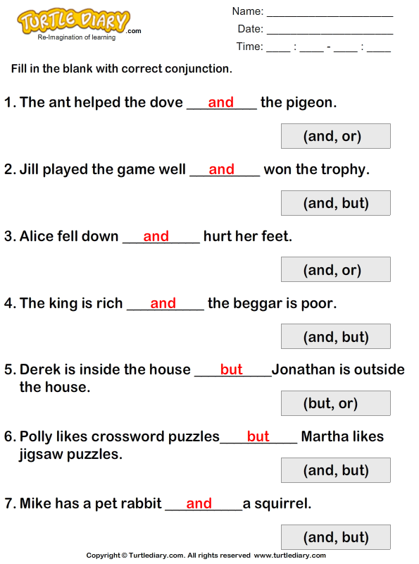 ... in the Blanks using Conjunctions But or And Worksheet - Turtle Diary