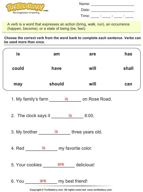 Choose the Correct Verb - Is, Am, Are Answer