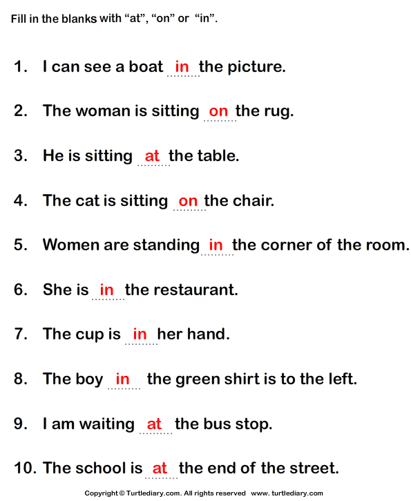 Fill in the Blanks with the Appropriate Preposition At In On – Fill in the Blanks Worksheets