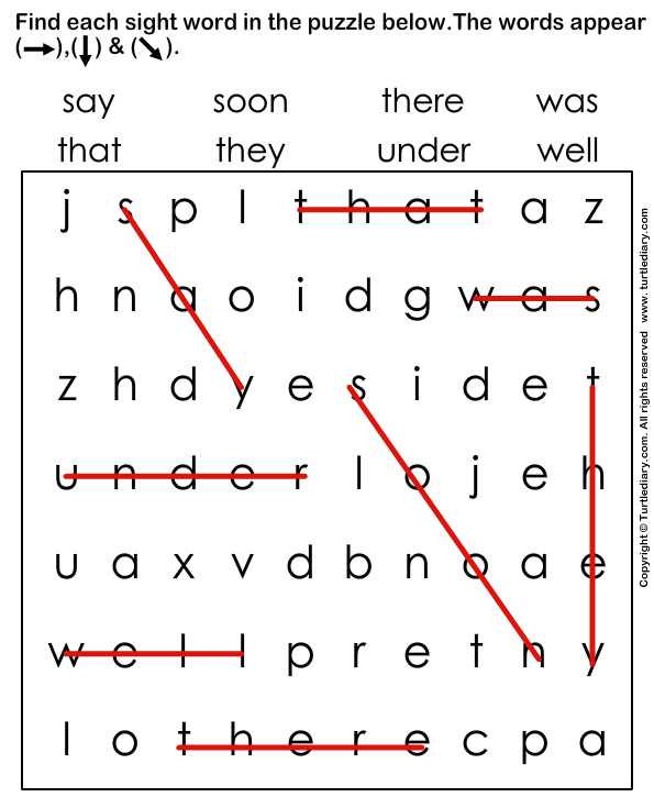 Sight Words Puzzle Answer