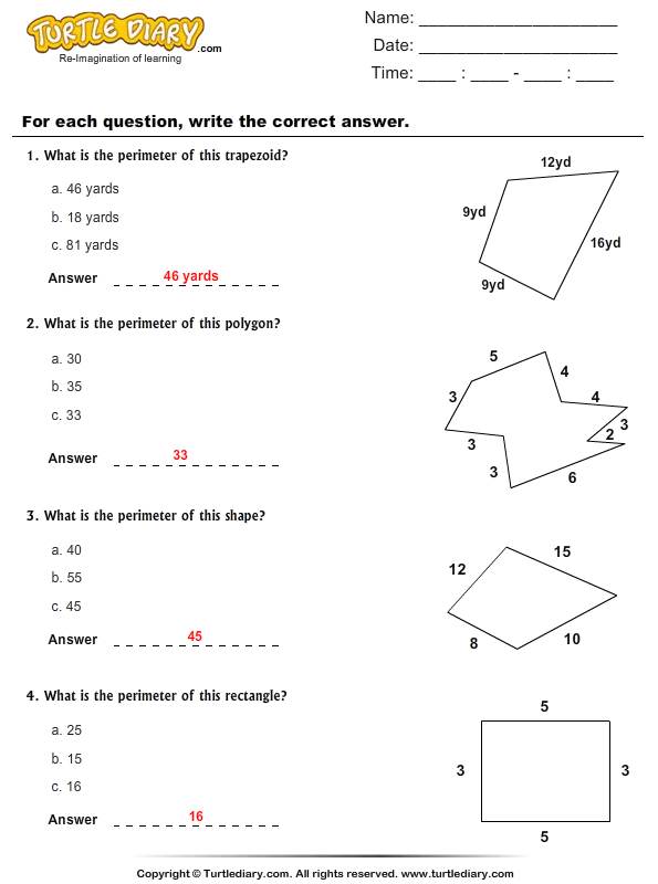 Perimeter : Choose the Correct Option Answer