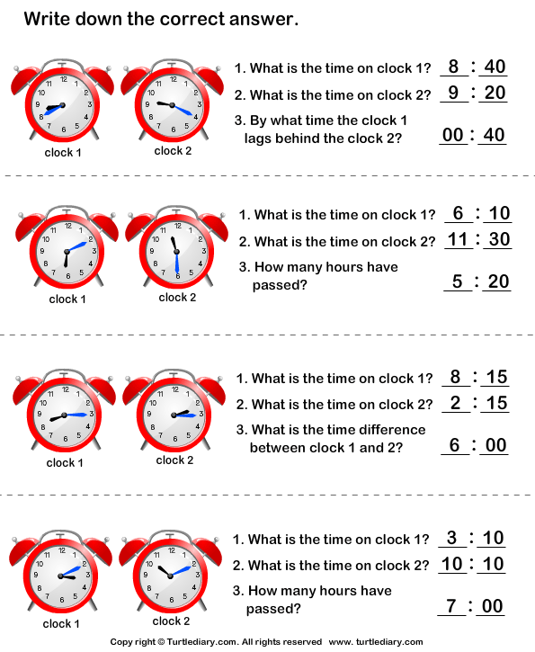 Read Clocks and Write the Time Answer