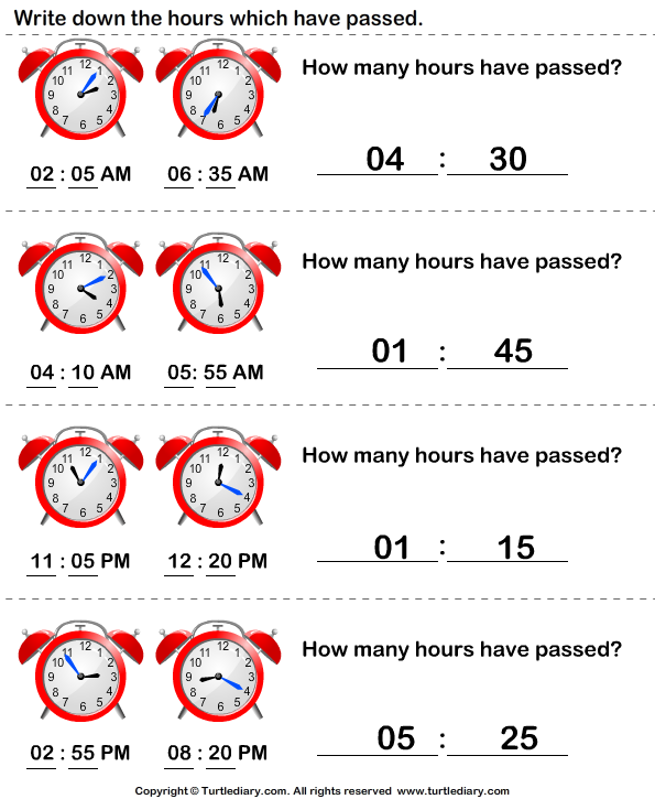 Elapsed time worksheets for grade 2