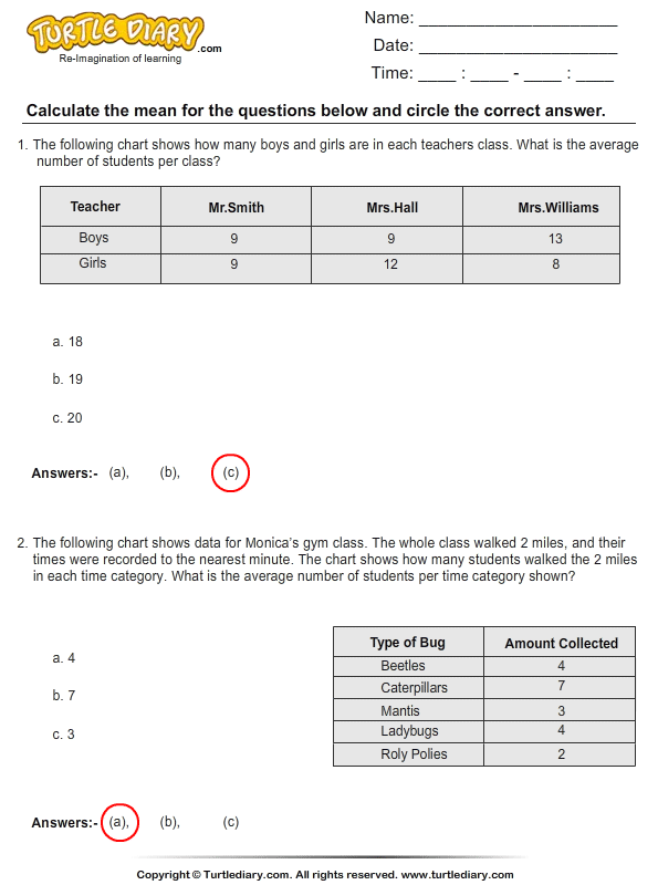 Calculate the Mean Answer