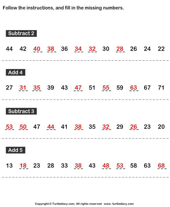 Complete the Number Pattern Answer