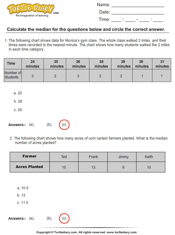 Calculate the Median Answer