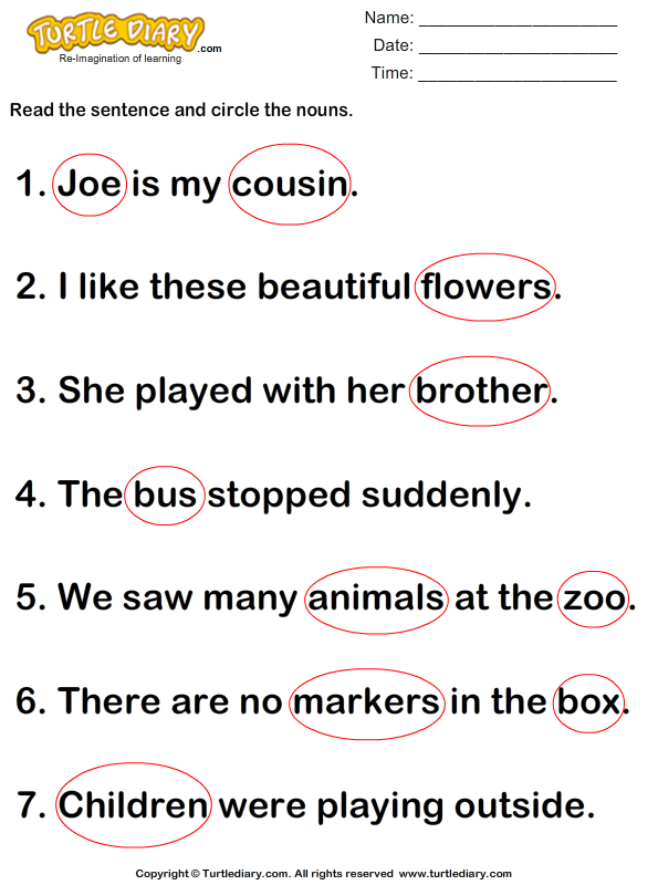 Identify and Circle Nouns in A Sentence Worksheet - Turtle Diary