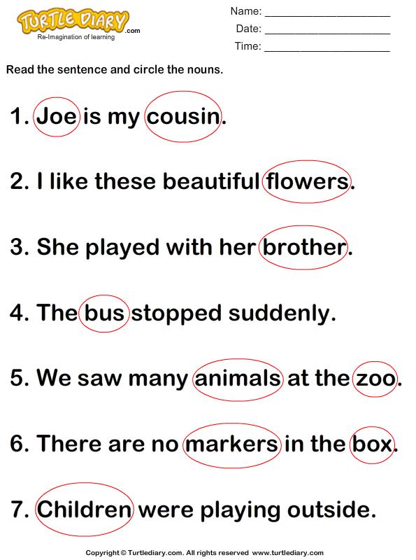 Circle Nouns in a Sentence Answer