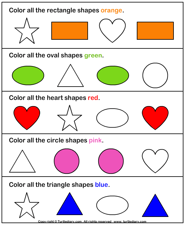 color the shape answer - Worksheets For Nursery Kids