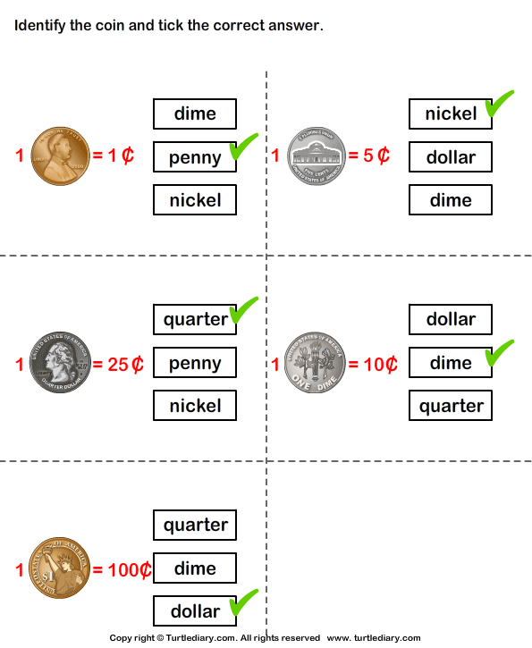 Identify Coins Worksheet Turtle Diary